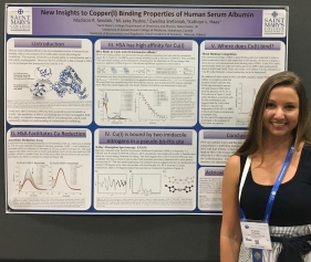 Madison first announced the newly-discovered Cu(I)-albumin binding site at the undergraduate poster session the National American Chemical Society Meeting in August 2017.